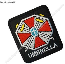 """Wholesale Evil Cosplay Costume - 3.5"""" Biohazard Resident Evil Umbrella Movie TV SERIES Costume Cosplay Embroidered Emblem applique Sew On iron on patch badge party favor"""