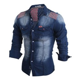 Wholesale Mens Slim Fit Denim Shirt - Wholesale- 2016 Brand New Spring Fashion Mens Long Sleeve Jeans Shirt Casual Slim Fit Denim Men Shirts Union Jack Camisa Masculina 13M0528