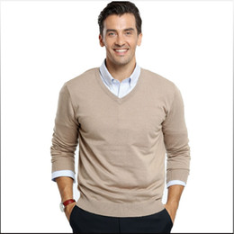 Wholesale Natural Cashmere Sweaters - Free Shipping Wholesale-2016 Winter Sweater Men v-neck Casual Knit Jumpers Sweaters Mens Long Pullovers Famous Brand