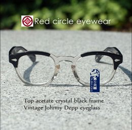 Wholesale johnny depp eyewear - Vintage Johnny Depp Eyeglasses Frame Mens Women Oval Frame Glasses Blonde and Crystal Black Acetate RX Optical Eyewear S M L