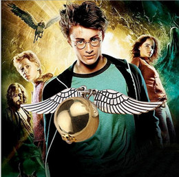 Wholesale Harry Wings Necklace - Popular Harry Potter Necklace Vintage Style Angel Wing Charm Golden Snitch Pendent Necklace For Men