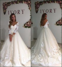 Wholesale Simple Long Train Wedding Dresses - New Ivory Lace Wedding Dresses 2017 Long Sleeve Off the Shoulder V Neck A Line with Appliques Bridal Gowns Vestido De Novia Custom