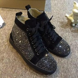 Wholesale Male Soles - 2017 brand fashion red sole sneakers glitter rhinestone stud sneaker lace up flats high top casual shoes male diamond stud party shoe