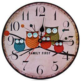 Wholesale Vintage Owl Wall - Wholesale-2016 New European Style Vintage Creative Forest Owl Round Wood Wall Clock Quartz Bracket Kitchen Clocks Decoration Decor