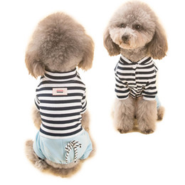 Wholesale Overall Teddy - Hipidog Spring Summer Autumn Dog Strip Shirt Jumpsuit Romper Pet Overalls Clothing for Small Pets Cat Outfit Teddy S M L XL XXL