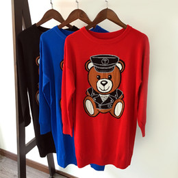 Wholesale Luxury Bear - 2017 winter new women's fashion luxury cartoon bear long-sleeved sweaters dresses