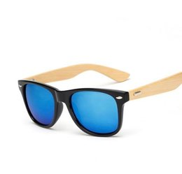Wholesale Green Shades Color - Wholesale-M14 Retro Bamboo Wood Sunglasses Men Women Brand Designer Sport Goggles Gold Mirror Sun Glasses Shades lunette oculo