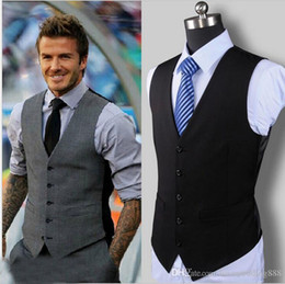 Wholesale Dark Gray Suit Mens - 2017 Sring Popular Farm Black Gray Dark Navy Wedding Groom Vests Slim Fit Mens Suit Prom Wedding Waistcoat Beckham