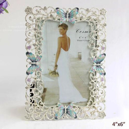 Wholesale 4x6 Photos - Silver Plating Clear Rhinestones Jeweled Blue Paint Butterfly Design Rectangle Shape Alloy Photo Frame 4x6 inch