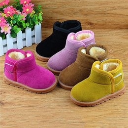 Wholesale Cow Baby Shoes - Children Snow Boots Kids Boys Girls Thicken Boots Fashion Baby Winter Cow Muscle Boots Warm Shoes 2017 Free Drop Ship