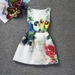 Wholesale Girls Dresses Free Dhl - DRESS girls clothing latest European style bird and flower girl dresses hot sale cute baby summer dress wholesale free DHL