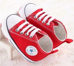 Wholesale Sports Prewalker - 4 colors fashion Newborn Baby Girl Boy Sports Sneakers Soft Bottom Anti-slip T-tied First Walkers Infant Prewalker