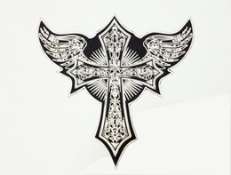 Wholesale Angels Jackets - Embroidery Patch Skull Cross Wing Angel Motorcycle Handmade Embroidered Iron On Patches Applique Back Patches For Jackets