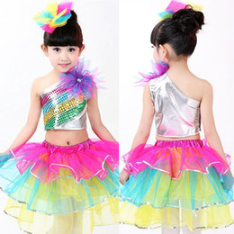 Wholesale Dance Costume Child Hip Hop - Girls Sequined Modern dance dress Kids Party dancewear costumes Outfits Children Ballroom Jazz Hip Hop dancing Tops+Skirt with Socks