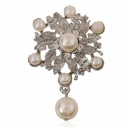 Wholesale Flower Bouquet Jewelry - Luxury Silver Plated Flower Austria Crystal Pear Charm Water Drop Brooches Pin Women Costume Jewelry Wedding Bouquet Brooch