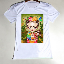 Wholesale Sexy Casual Tops For Girls - Wholesale-Summer Women Tees Tops Sexy Girls t-shirt Fashion Frida Kahlo T Shirt For Woman Cotton Crew Neck Short Sleeve Breathable Clothes