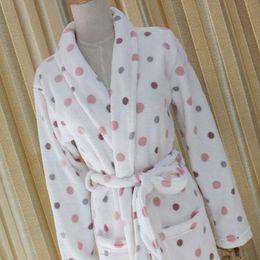 Wholesale Sexy Bamboo Underwear - Pillow Pajamas Autumn and Winter Ladies Robe Bamboo Fiber Warm Long Sleeve Bathrobe White Dots Apply Ladies Underwear