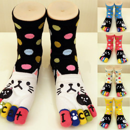 Wholesale Toe Cuffed - Wholesale- 2016 Car Toe Socks 3D Printed Cute cats Cartoon Animal Dot Five Finger Sock Christmas for Women Girl boot cuffs chausettes femme