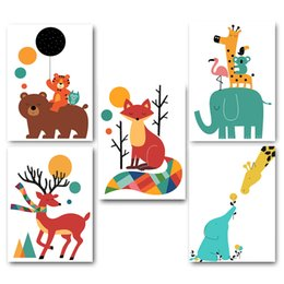 Wholesale Elephant Pictures - Nordic Art Cartoon Animal Bear Elephant Tiger Minimalism Poster Canvas Painting Kawaii Cartoon Wall Picture Print Baby Room Decoration