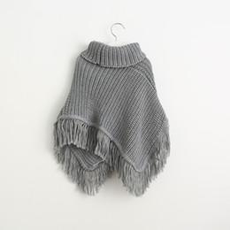Wholesale Children Wool Sweater - New Baby Girls Knit Tassel Poncho Outwear 2017 Kids Girls Wool Blends Knitted Outwear Girls Princess Autumn Winter Sweater Children clothing