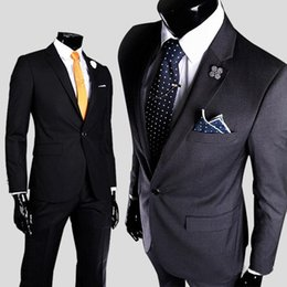 Wholesale High Quality Cotton Suits - The New explosion models new men's casual men's suits high-quality cotton men a button after the slits straight skirt suit Slim Va