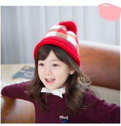 Wholesale Knitted Hats Korea - Lemonkid Hot Sale Boy Girl Unisex Kids Hat Cute Winter Baby Hat personality Earflap Knit Cap Korea suit for 1-4T kids