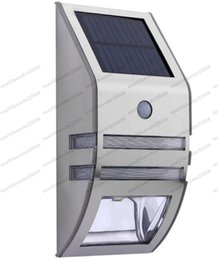 Wholesale Outdoor Solar Led Step Light - NEW Silver Solar-powered Light with 2pcs SMD LEDs Polycrystalline Solar Panel PIR Sensor for Pathway Outdoor Stair Step Garden Yard MYY