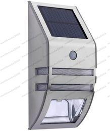 Panel solar policristalino 6v online-NUEVA Luz de energía solar de plata con 2 unids SMD LED Panel policristalino Sensor PIR para camino al aire libre Escalera exterior Jardín Patio MYY