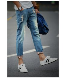 Wholesale Jeans Style China - Wholesale-Factory direct sales 2016 new korean stretch slim small feet tide pencil Men jeans china Cheap wholesale
