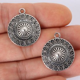 серебряная зона Скидка Wholesale-Zone  4pcs 21x25MM Antique Silver Alloy Round Charms Pendant Jewelry Findings for DIY fashion charm bracelet necklace craft