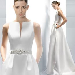 Wholesale High End Make Up - High-end Custom Elegant Satin Wedding Dresses Scoop Neckline With Beading Sash Ball Gowns Robe de Mariage Plus Size