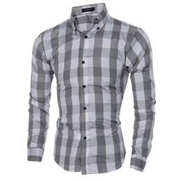 Wholesale Cheap Xxl Dresses - Cheap New Leisure Man Dress Shirts Long Sleeve Single Breasted Dress Shirts Men Slim Spring Fall Clothing Fashion Casual Plaid Tops M-XXL