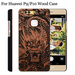 Wholesale 3d Huawei Phone Case - 2017 Hot sale Real Wood Case For Huawei P9 P10 Wooden Phone Cover With PC Back Case 3D Engraving Wood Cases For Huawei P10 PLUS