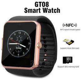 Wholesale Black Red Bracelets - GT08 Bluetooth Smart Watch with SIM Card Slot and NFC Health for Android Samsung and IOS Apple iphone Smartphone Bracelet With Package