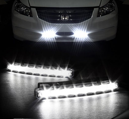 Wholesale 12v 8w - Universal DRL 2Pcs DC 12V 8W 8LED Car Daytime Driving Running Light Head FOG Lamp Super White Color Waterproof External Led Car Styling