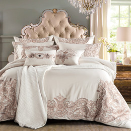 Wholesale Tencel Fabric Sheets - IvaRose 4 7pcs Europe Luxury bedding sets embroidery tencel fabric bed linens Queen King size duvet cover set sheets sets
