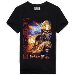 Wholesale Free Style Shirts - Rock Music Iron Maiden Skull New Style Fashion T-shirt Men's T Shirt Cotton High Print Hip Hop Tees Overseas Free Shipping