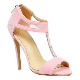 peep toe rose chaud talons hauts Promotion Zandina Vente Chaude Des Femmes De Mode À La Main 100mm T-strap Peep-Toe Talon Haut Stiletto Chaussures De Soirée Rose XD089