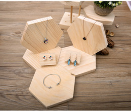 Wholesale Wooden Trays For Display - [Simple Seven] Muji Style Jewelry Set holder Natural wooden Bracelet stands Hexagon Shape Ring display Pendant Tray for Craftshow Shopwindow