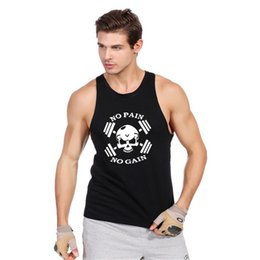 Wholesale Thin Modal Tops - Wholesale- 2017 New Punisher Skull Print Thin Straps Professional Fitness Tank Top Fashion Bodybuilding Cotton Vest Men Undershirt Tops