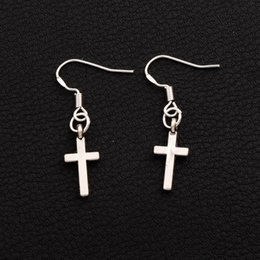 Wholesale Smallest Cross Charms - 925 Silver Fish Hook Small Cylindrical Cross Celebrity Earrings 50pairs lot Lady Charm Rare Jewelry E429