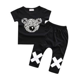 Algodão mickey on-line-Mickey Cabeça Urso T-Shirt Conjuntos de Roupas Crianças Cross Pant 100% Algodão Top Quality Moda Bebê Meninos Ternos Esportivos 2 peças terno