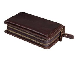 Wholesale Large Wallet Clutch Organizer - wholesale Luxury Brand Business Men Wallets with Phone Bag Vintage Genuine Leather Clutch Wallet Male Purses Large Capacity Men's Wallets