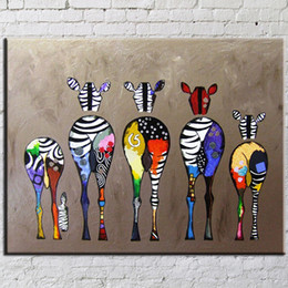 Wholesale Zebra Linens - Oil Painting Abstract Canvas Art Hand-Painted Zebra Abstract Unframed Wall Art Paintings Cartoon Picture For Home Decoration 50*70Cm