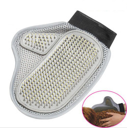 Wholesale Dog Glove Hair Brush - Dog Hair Fur Remover Mitt Cat Bath Wash Grooming Glove Brush Dogs Cleaning Massage Comb OOA2439