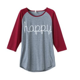 Wholesale Ladies Clothing Plus Size Xxxl - Women Spring Autumn Tops Long Sleeve O-neck Lady T-Shirt Happy Letter Printed Shirt Women Casual Clothing Plus Size S-XXXL LM93