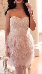 Wholesale Elegant Short Feather Prom Dresses - Elegant Pink Short Evening Dresses 2017 Luxury Beading Feathers Sweetheart Sleeves Evening Gowns Formal Dress Robe de Soire