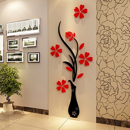 Wholesale Decal Stickers Print Paper - Wholesale- 2016 New DIY Home Room Decor 3D Vase Flower Tree Wall Sticker Removable Decal 30x80cm 058WG