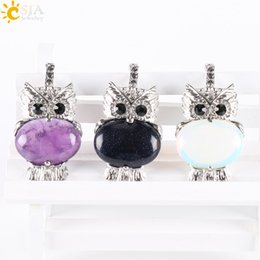 Wholesale Owl Pendant Jewellery - CSJA Cute Owl Bird Animal Shaped Pendants for Women Necklaces DIY Making Round Natural Stone Jewellery Summer Fashion Jewelry Gift E284