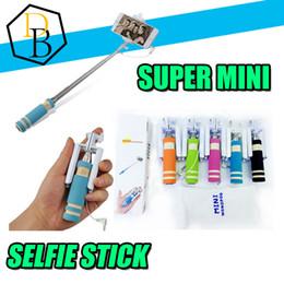 palos de plástico para selfie Rebajas Mini atado con alambre Monopod Selfie pega al por mayor para Ios Android Universal Aluminio de bolsillo Selfies extensible con cable para Iphone 7